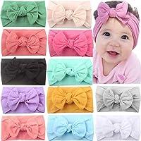 JOYOYO 12 Pcs Baby Headbands with Bows Wide Headbands Super Stretchy Soft Elastic Headbands and Hair Bows Baby Hair…