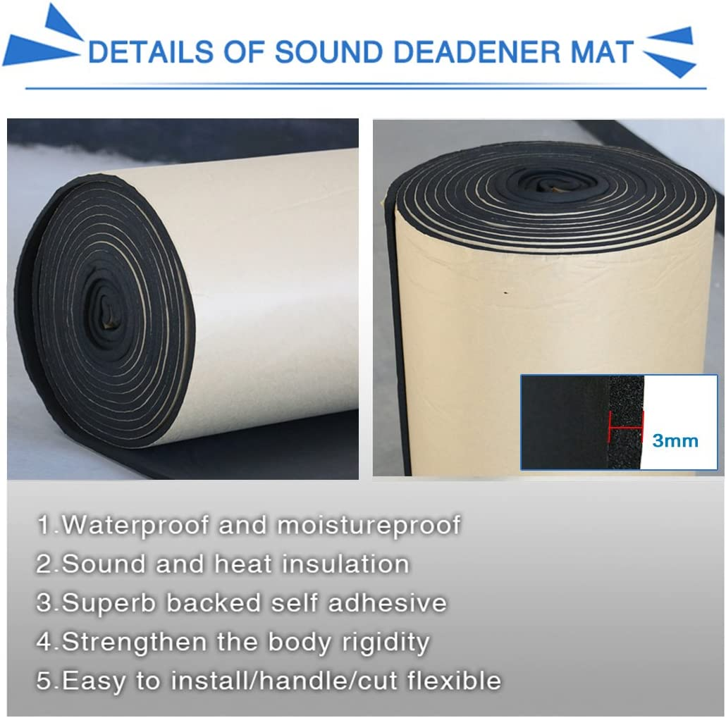 uxcell 118mil 16.36sqft Car Heat Insulation Cotton Foam Sound Absorption Deadener Mat 60x 40 Waterproof and Moistureproof