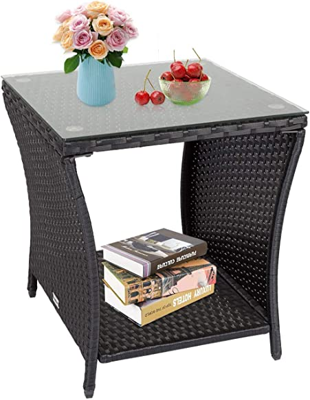 Kinsunny Square Patio Coffee Bistro Table PE Rattan Wicker Side Table w/Glass Top Indoor Outdoor