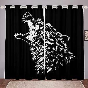 "Erosebridal Wolf Curtains Howling Wolf Window Curtain Panels Black Wolf Head Window Drapes African Savannah Wildlife Animal Window Treatment for Boy Teen Men Black 104"" X 84"" Blackout"