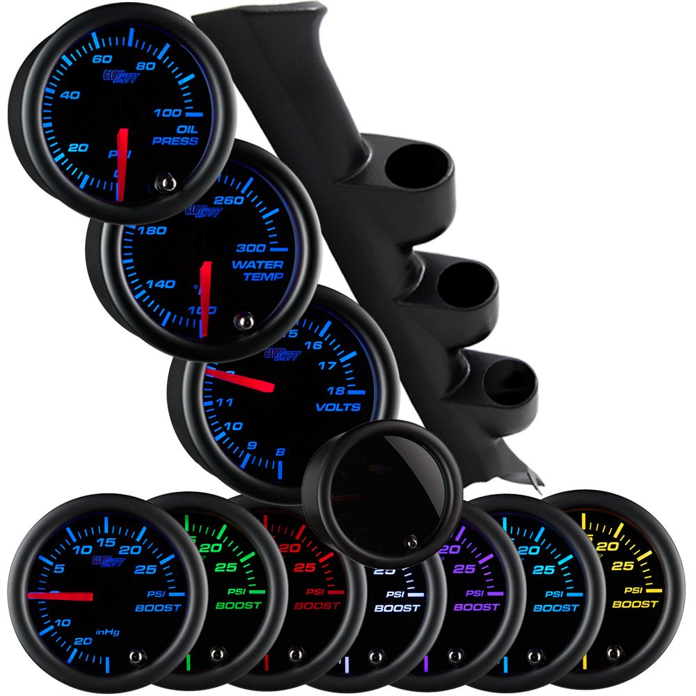 GlowShift Gauge Package for 1987-1993 Ford Mustang GT Hardtop - Tinted 7 Color 100 PSI Oil Pressure, 300 F Water Temperature & Volt Gauges - Black Triple Pillar Pod by GlowShift