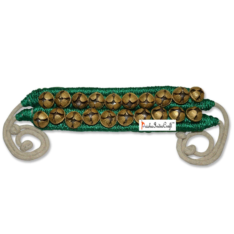 Prisha India Craft ® Kathak Ghungroo (16 No. Ghungroo) Best Quality 1 Line Big Dancing Bells Ghungroo Pair Handmade Indian Classical Dance Accessories Ghungru Green Pad