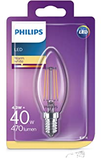 Philips 8718696587355 Bombilla LED Vela E14, 4 W, Transparente