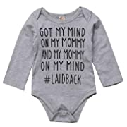 Newborn Baby GOT My Mind ON My Mommy Funny Bodysuits Rompers Outfits Blue (Gray Long Sleeve, 0-3 Months)