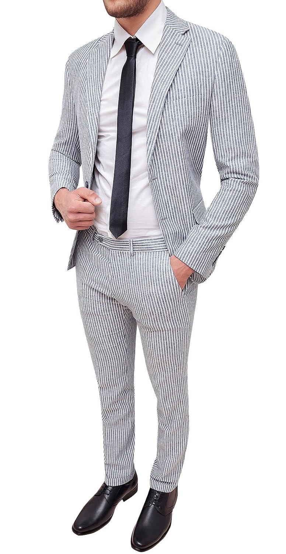 Abito completo uomo sartoriale in lino bianco grigio slim fit elegante  estivo ingrandisci f2cd08285e9