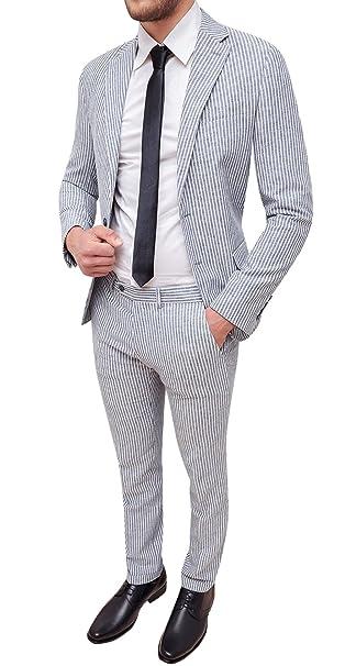 Abito completo uomo sartoriale in lino slim fit vestito elegante estivo   Amazon.it  Abbigliamento 670e3083a9b