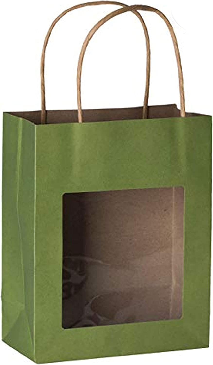 Hammont Green Kraft Paper Bag with Window (10 Pack) - Food Storing Pouches with Handles, Gift Bags with Transparent Window 7.75
