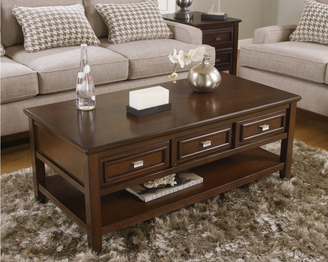 Ashley Furniture Signature Design - Larimer Rectangular Cocktail Table - 3 Drawers and 1 Fixed Shelf - Contemporary - Dark Brown