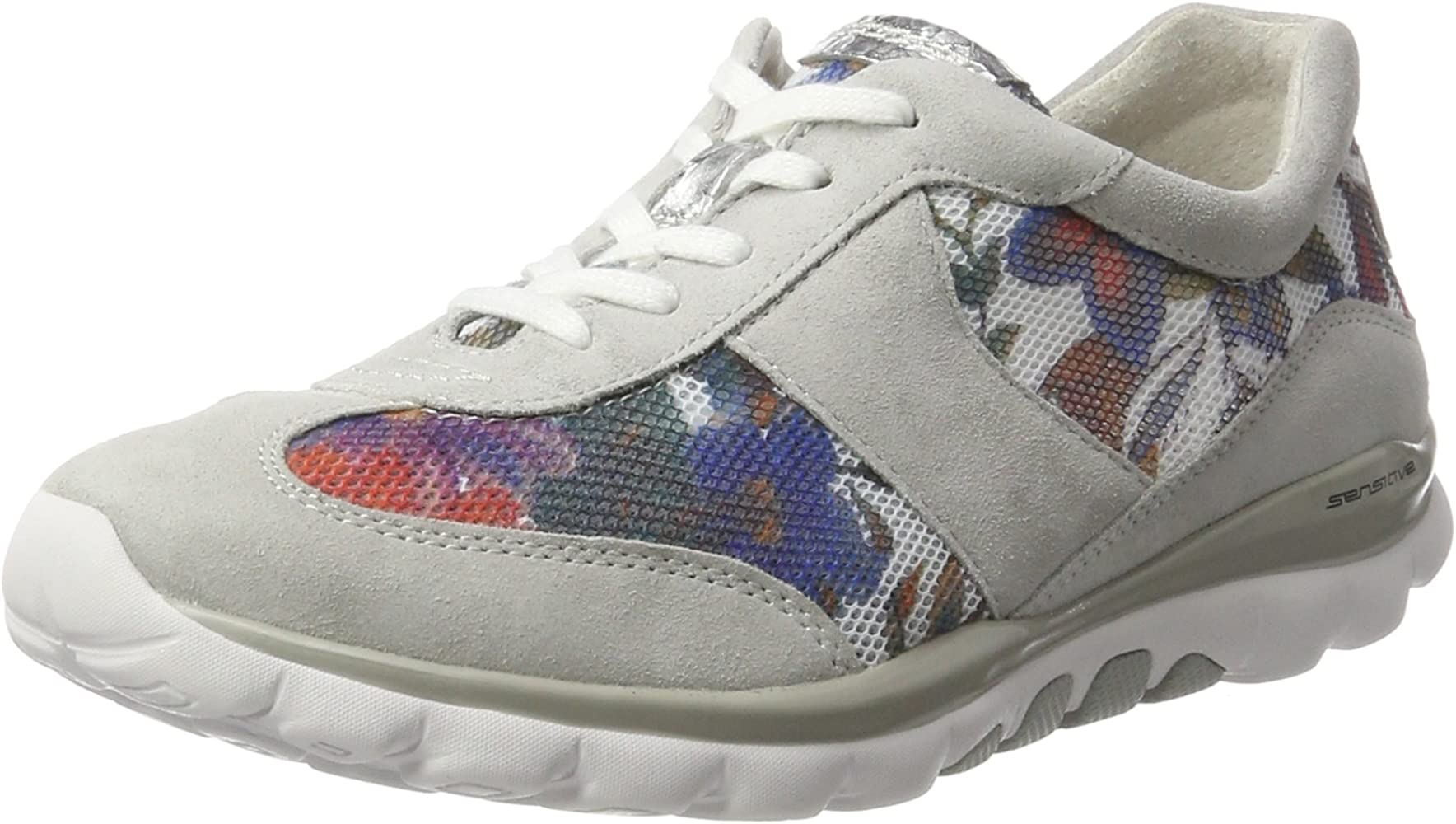 3ee7dec410121 Gabor Shoes Women's Rollingsoft Low-Top Sneakers, Beige (Flower/Ice/Argento