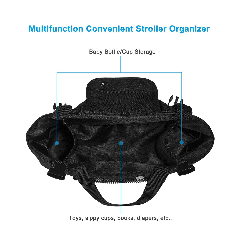 Organizador para cochecito de bebé - Uiter bolsa de almacenamiento con bolsillo separable para cochechitos de bebé, con dos ganchos: Amazon.es: Bebé