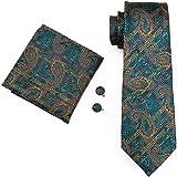 Hi-Tie Mens Paisley Silk Tie Pocket Square Cufflinks Set