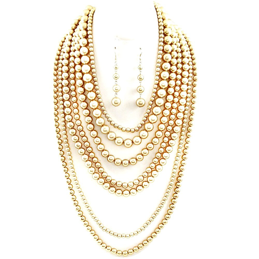 Affordable Wedding Jewelry Statement Beaded Layered Strand Metallic Simulated-Pearl Bead Long Necklace Set Gift Bijoux (Gold) by Affordable Wedding Jewelry
