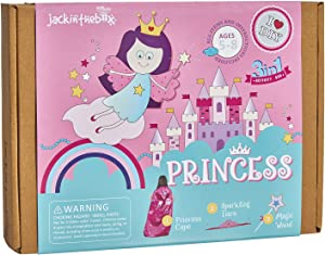 jackinthebox Princess Themed Arts and Crafts for Girls | Make a Cape, Tiara and Wand | Best Gift for Girls Ages 4 5 6 7 8 Years | 3 Craft Projects in 1 Box