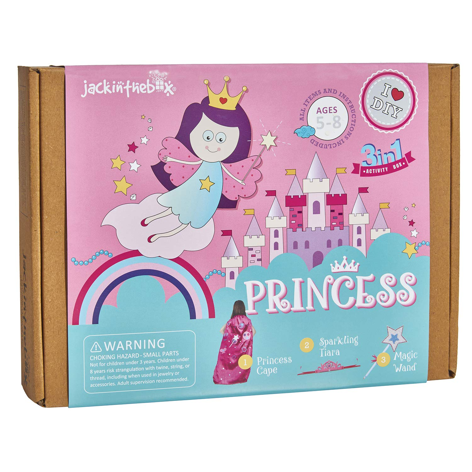 jackinthebox Princess Themed Art and Craft Kit for Girls | 3 Activities-in-1 | Best Girl Gift for Ages 4 to 8 Years | Includes Beautiful Felt and Foam Embellishments (Princess 3-in-1) by jackinthebox
