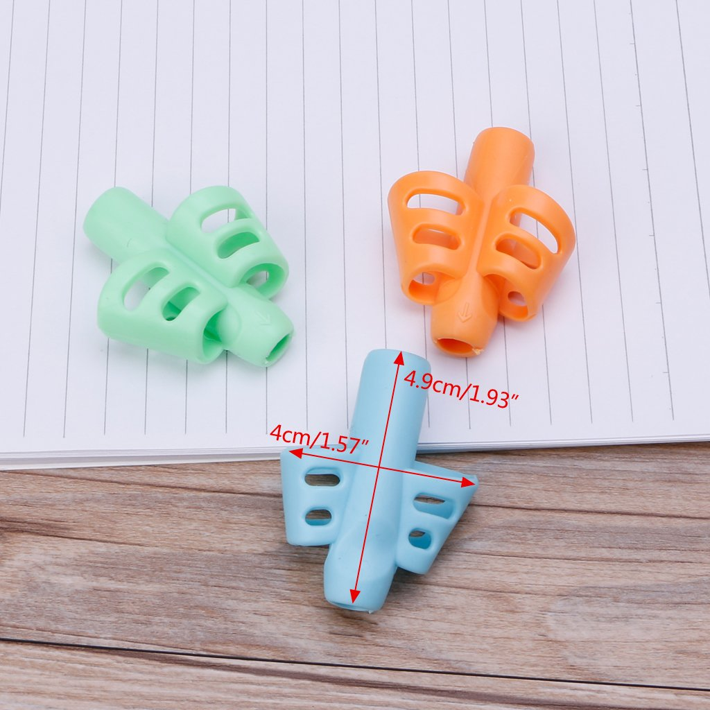 Milue 3Pcs Two-Finger Grip Silicone Baby Pencil Holder Learn Writing Tools Writing Pen by Milue (Image #6)