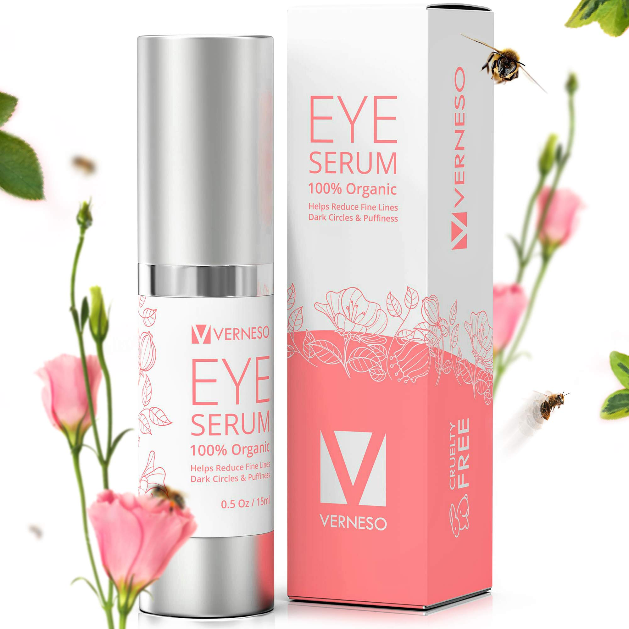Best Eye Serum with BEE VENOM for Wrinkles, Fine Lines, Dark Circles, Puffiness & Bags - With Hyaluronic Acid, Peptides & Shea Butter - 100% ORGANIC - Made in USA - Anti Aging Moisturizer Serum by VERNESO