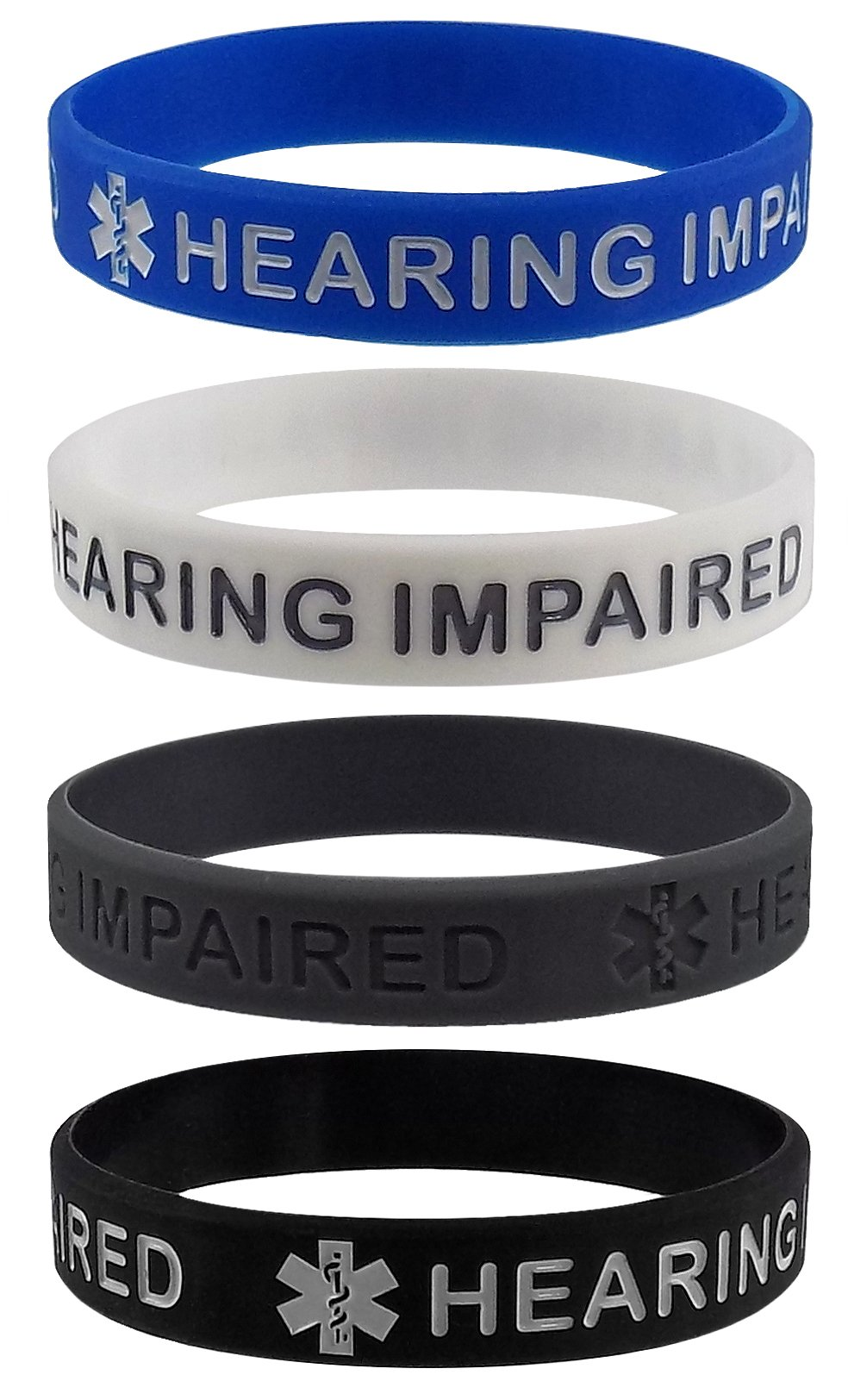 ''HEARING IMPAIRED'' Medical Alert ID Silicone Bracelet Wristbands 4 Pack