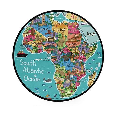 Tapete redondo antideslizante con diseño de mapa de África ...