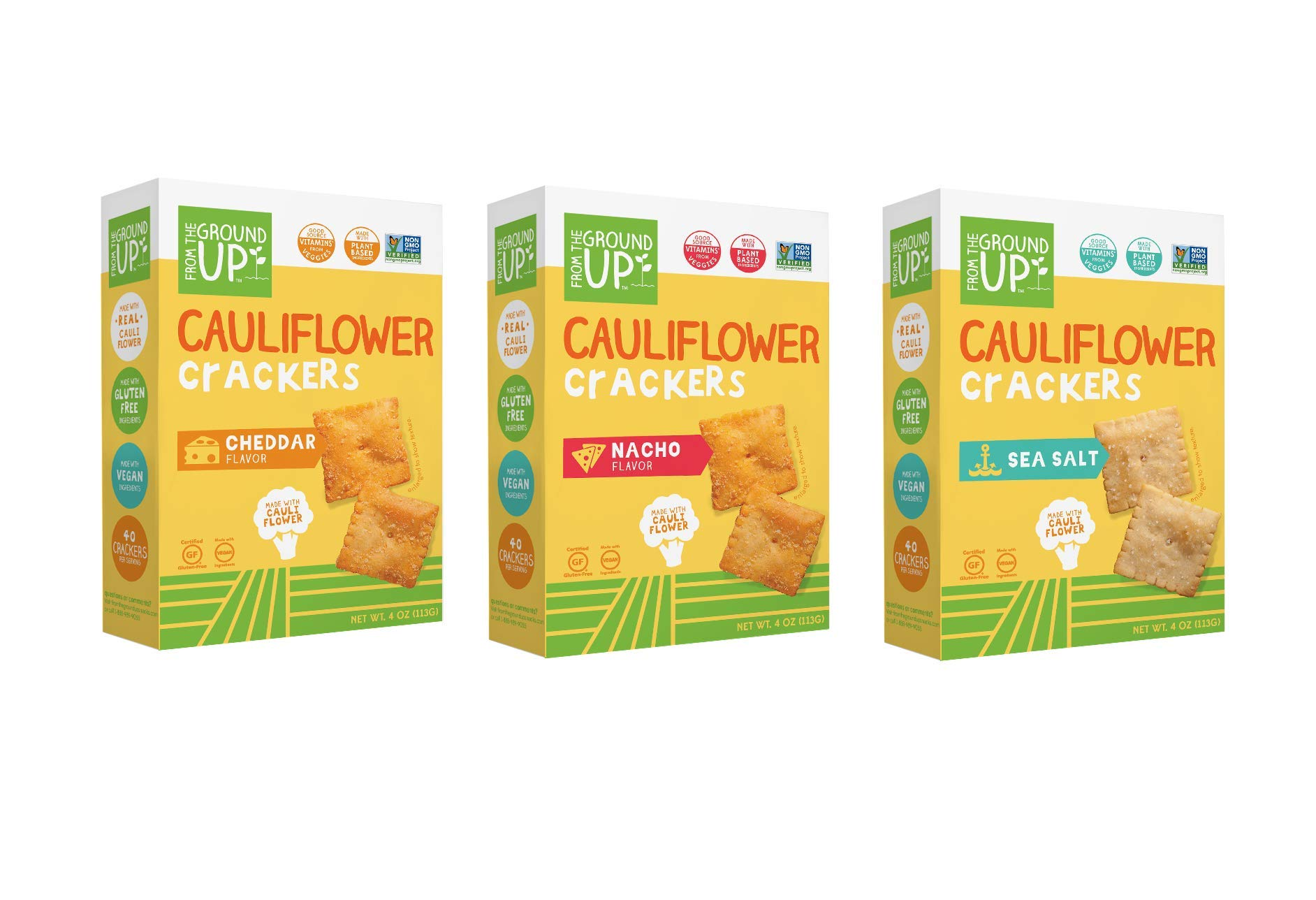From the Ground Up Cauliflower Crackers, 3 Flavor Variety Pack, 4 oz Pack (Pack of 12)