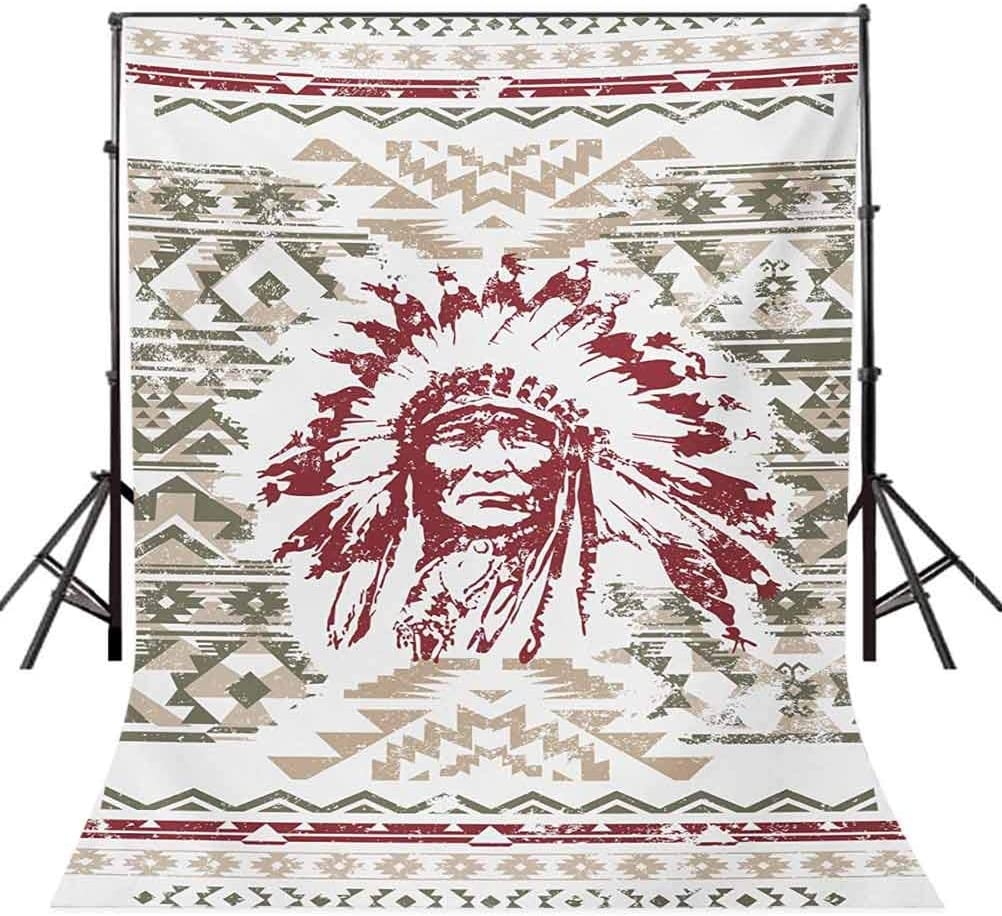 Native American 10x12 FT Backdrop Photographers,Retrp Eagle Heart Chief Trail Grunge Effect Geometric Motif Background for Photography Kids Adult Photo Booth Video Shoot Vinyl Studio Props