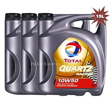 Total Quartz Racing 10 W-50 aceite de motor 3 x 5 L=15 ...