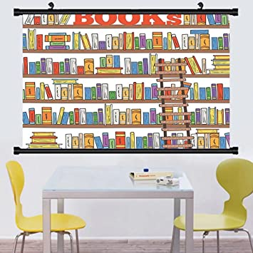 Gzhihine Wall Scroll Modern Library Bookshelf With A Ladder School Education Campus Life Caricature Llustration