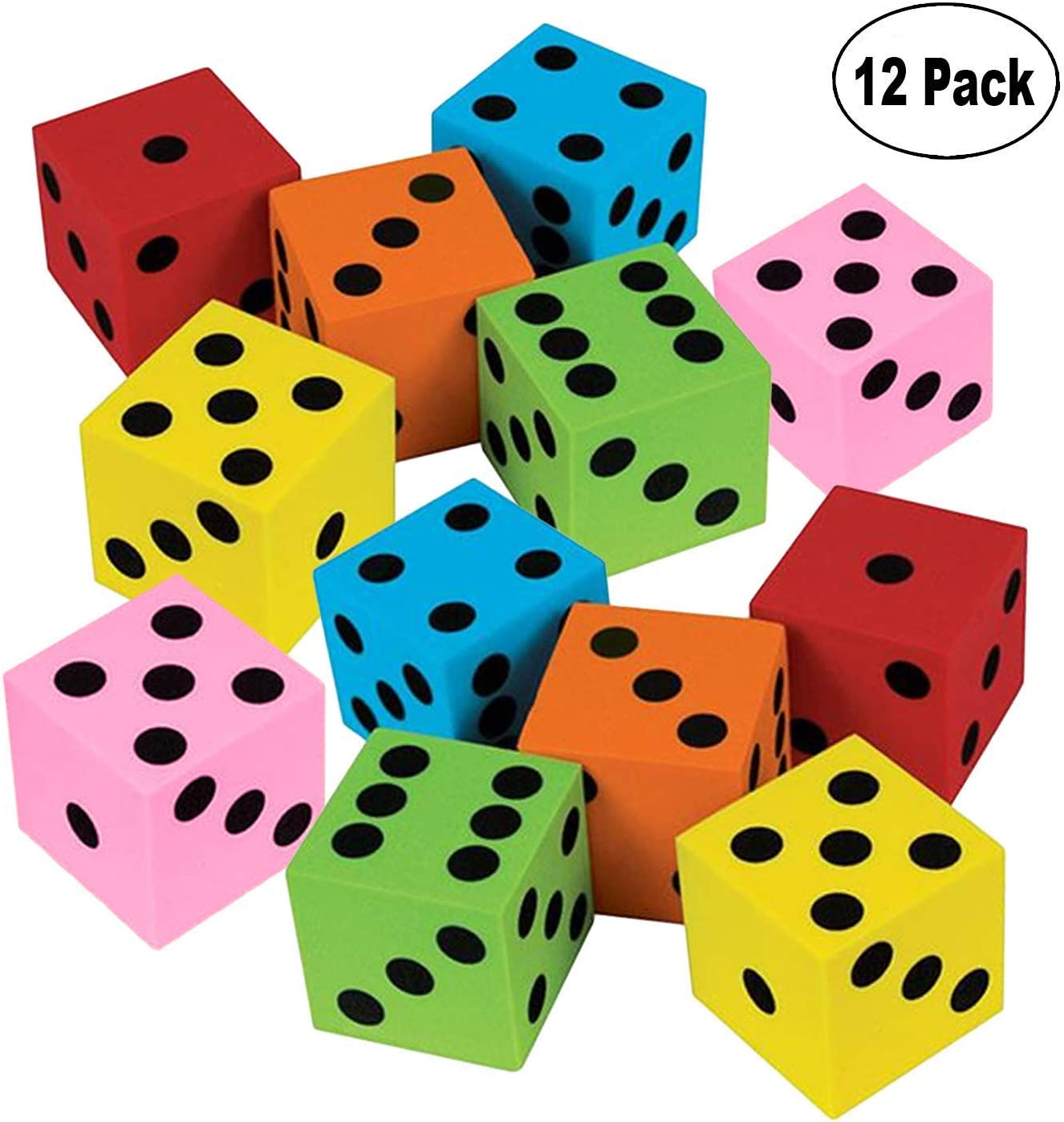 1.5 inch large colorful foam dice cubes with number dots Foam dice set of 36