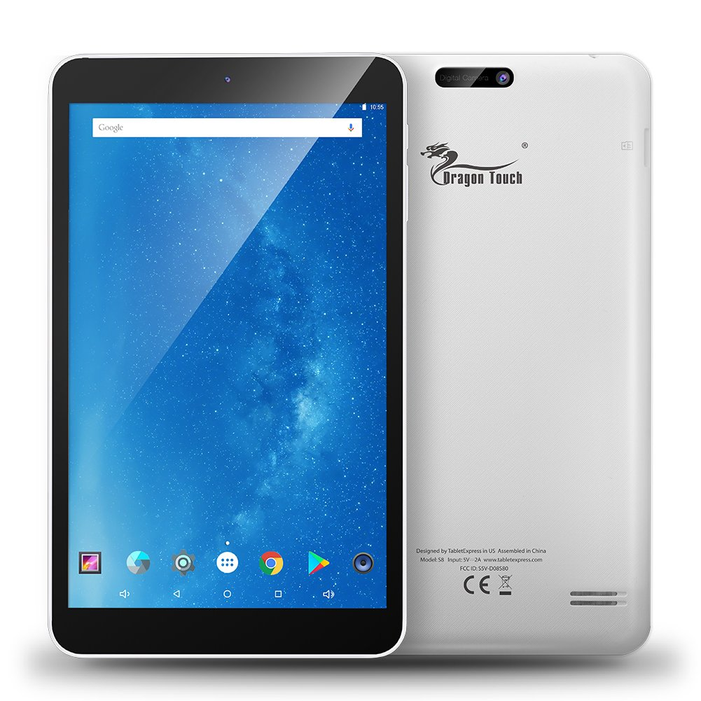 Dragon Touch 8 Inch Intel 64 bits Quad Core Android Tablet, 1GB RAM 16GB Flash, IPS Display 1280x800, Android 5.1 Lollipop, FM 10 Point Multi-Touch, Dual Camera