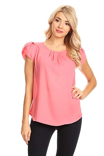 c0d9460aa64e VIA JAY's Basic Casual Simple Short Sleeve Blouse TOP at Amazon ...