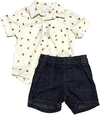 Carters Baby Boys 2 Piece Denim Shorts and White Button-up Shirt Burgers and Tacos 18 m