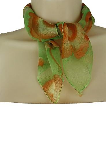 4f163373f6eb5 TFJ Women Fashion Small Neck Scarf Sheer Floral Fabric Flowers ...