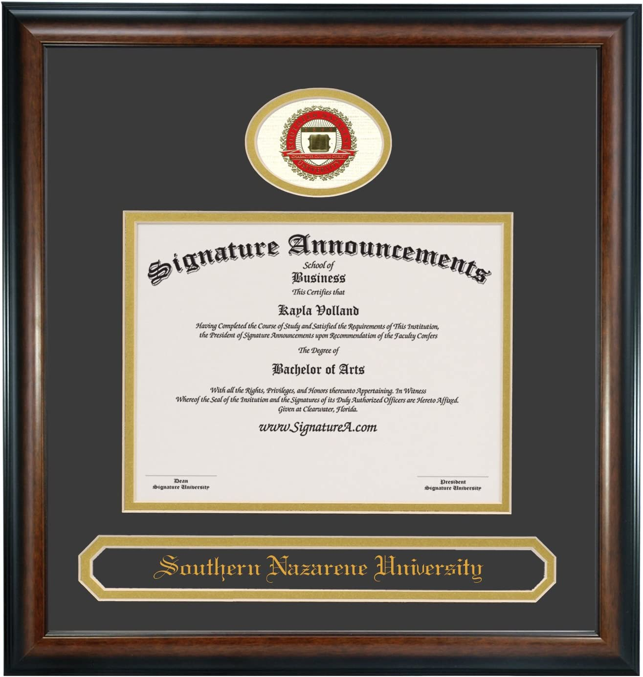 Professional//Doctor Sculpted Foil Seal Graduation Diploma Frame 16 x 16 Matte Mahogany Signature Announcements Southern-Nazarene-University-Traditional Undergraduate