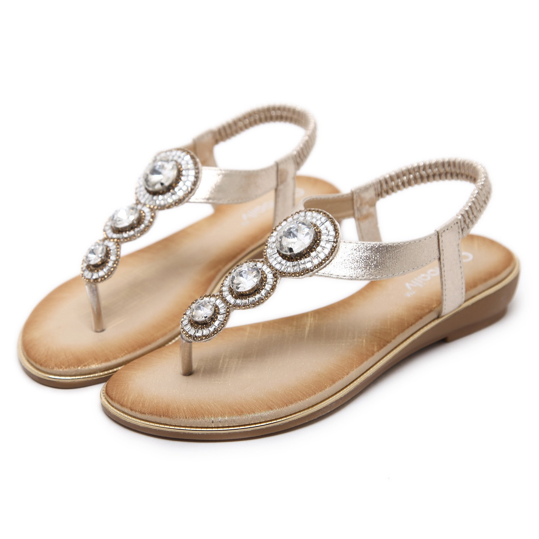 Meeshine Womens Flat Sandals Summer Rhinestone Comfort Bohemian Flip Flop Shoes Gold-02 US 8.5 by Meeshine (Image #3)