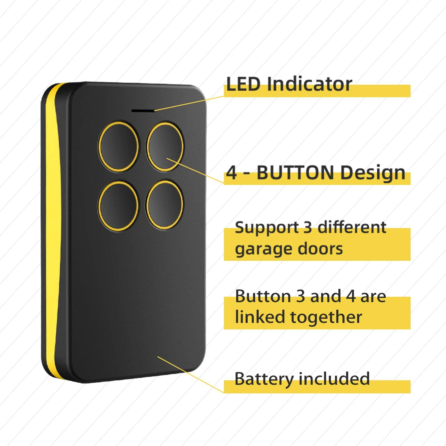 Compatible Garage Door 891lm 893lm 950estd 953estd Remote Control With Yellow Learn Button Liftmaster Chamberlain Craftsman