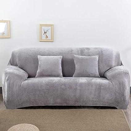 Aisaving Funda de sofá Gruesa de Terciopelo 1 2 3 4 plazas Funda de sofá elástica Antideslizante para Silla de Paseo o sofá, Gris Claro, 3 ...