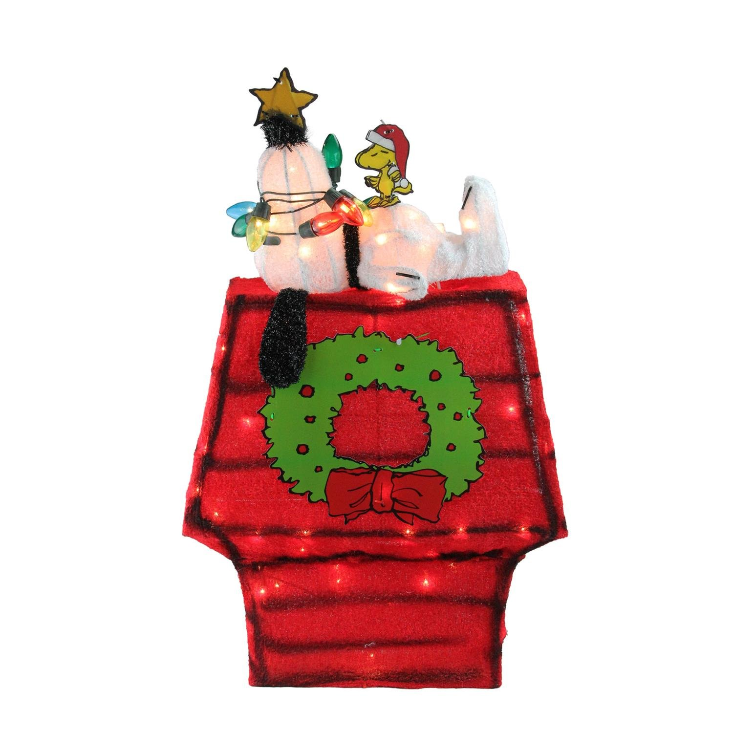 """Northlight 27"""" Pre-Lit Peanuts 3-Dimensional Snoopy with Star Christmas Outdoor Decoration"""