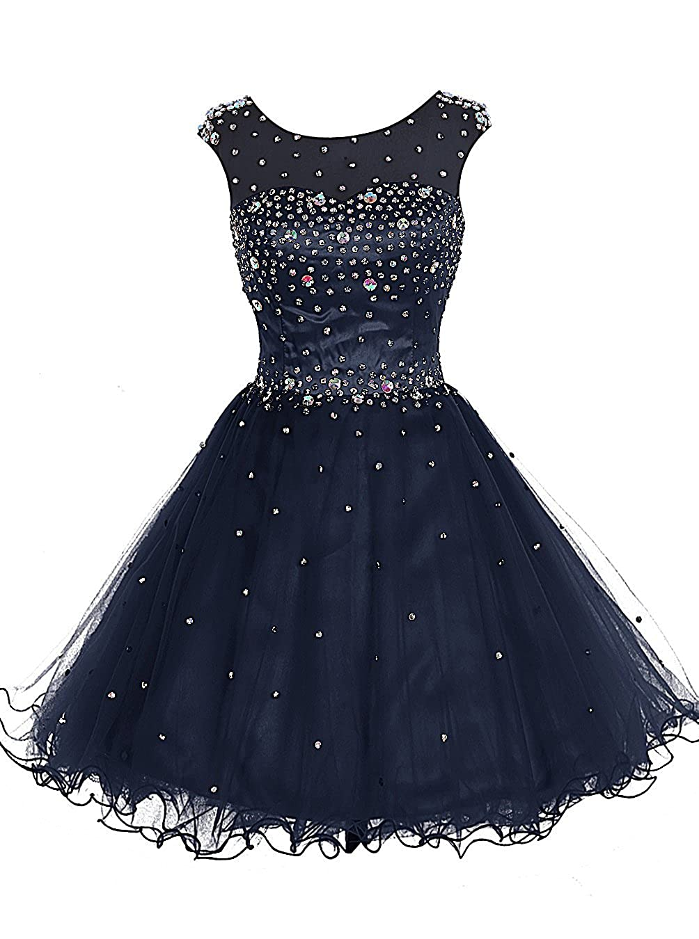 Navy TideClothes Women's Beaded Homecoming Dress Short Party Prom Gowns