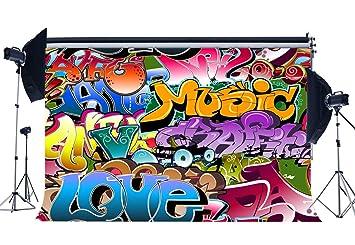 Amazoncom Gladbuy Vinyl 5x3ft Graffiti Backdrop Retro 80s Style