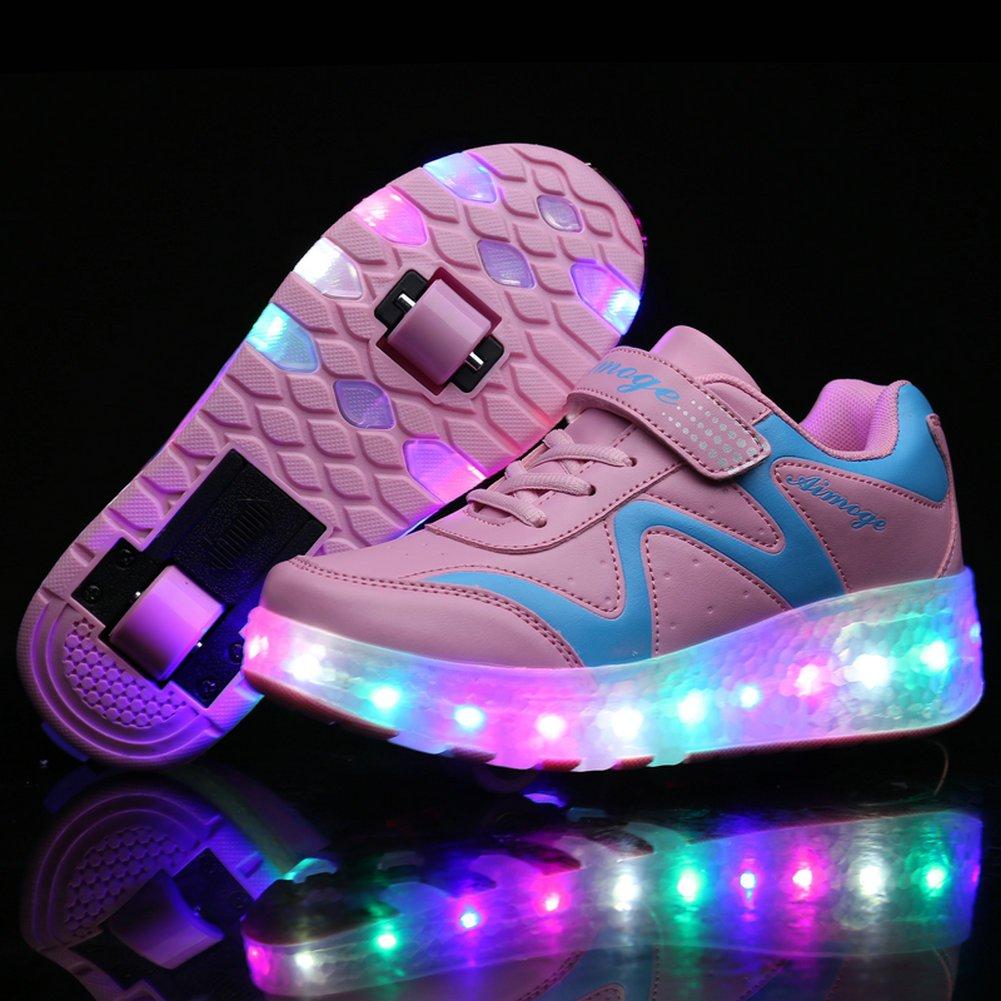 K-SEVEN Boys Girls Roller Skate Shoes with Recharging Light Two Wheels Sport Sneaker for Kids Youth