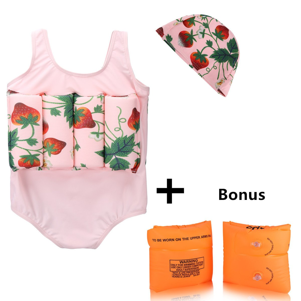 Wowelife Toddler Float Suit with Arm Bands Baby Floating Swimsuit with 8 Removable Buoyancy Sticks for Boys and Girls, 1-4 Years (Sweet Strawberry, M(Chest 60,Length 42cm))