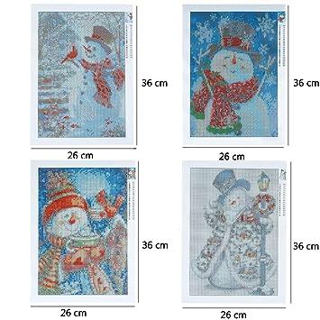 INSANY 4 Pack DIY 5D Diamond Painting Kit Snowman Full Diamond Embroidery Rhinestone Cross Stitch Arts Craft Supply for Christmas Home Decoration