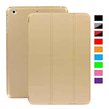 KHOMO Funda iPad Mini 1, 2, 3 - Carcasa Dorada Ultra Delgada con Smart Cover para Apple iPad Mini, Mini 2 Retina, Mini 3 - Dual Gold