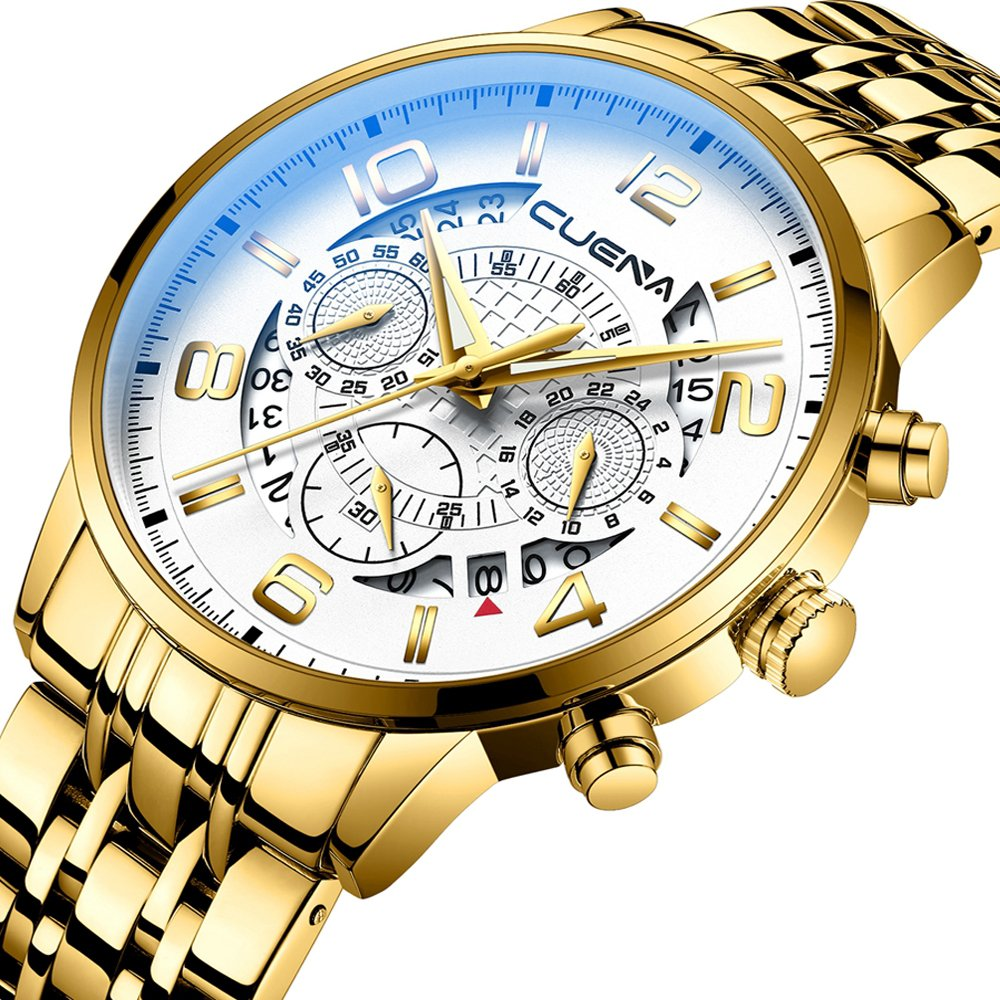 Chronograph Watches for Men with Stainless Steel Band and Waterproof Analog Wrist Watch by CRRJU