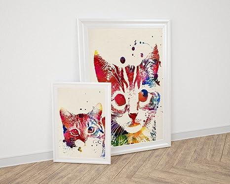 Nacnic Pack de láminas para enmarcar Gatos. Posters Estilo Acuarela con imágenes de Gatos.