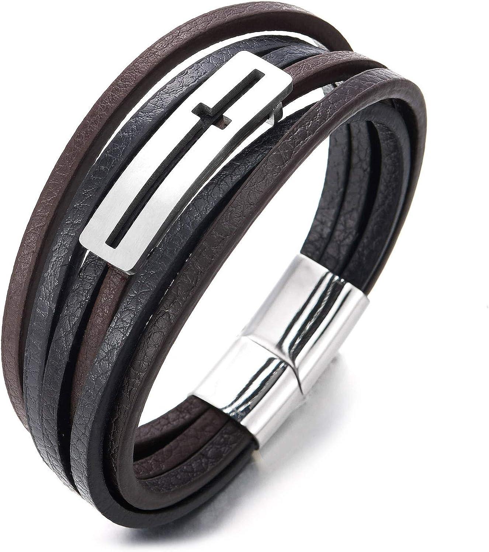 iMECTALII Bracelet en Cuir tress/é Noir /à Trois rang/ées de Croix lat/érales Horizontales en Acier Inoxydable pour Hommes