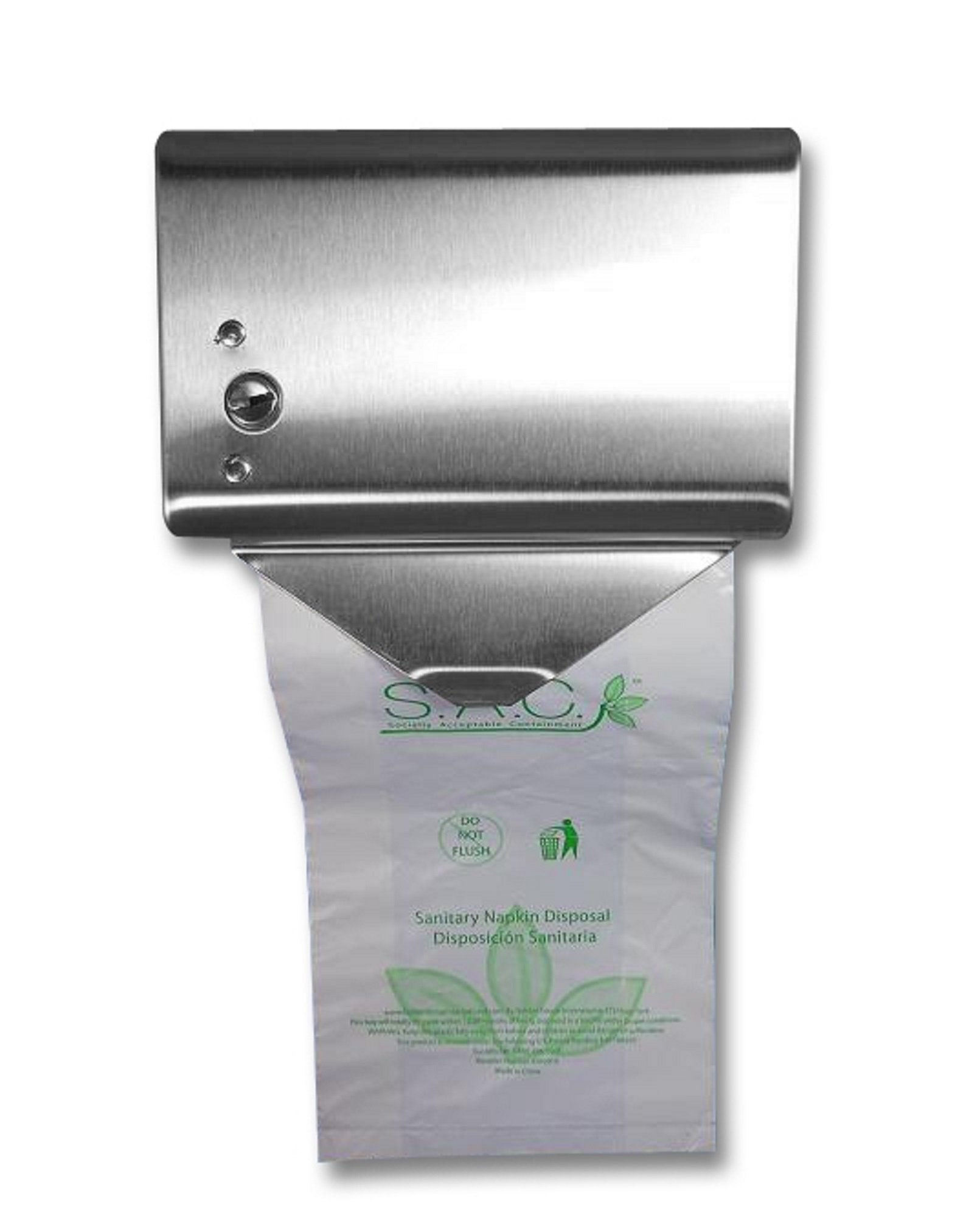 S.A.C SD2010R 22 Gauge Steel Sanitary Napkin Disposal Bag Roll Dispenser, 5-1/4'' Length x 5-1/8'' Width x 3-1/2'' Height, Stainless Steel by S.A.C (Image #1)