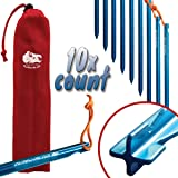 """Chill Gorilla 7"""" 11.8"""" 10X TENT STAKES - Heavy Duty Lightweight Strong 7075 Aluminum Alloy Pegs Camping, Rain Tarps, Hiking, Backpacking. Essential Survival Gear. Camp Accessories."""