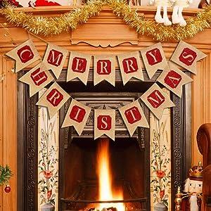 Merry Christmas Jute Burlap Banners Decor, HOOMBOOM Large Merry Christmas Banners Decorations for Fireplace Wall Tree Home Decoration Mantel Christmas Hanging Decor