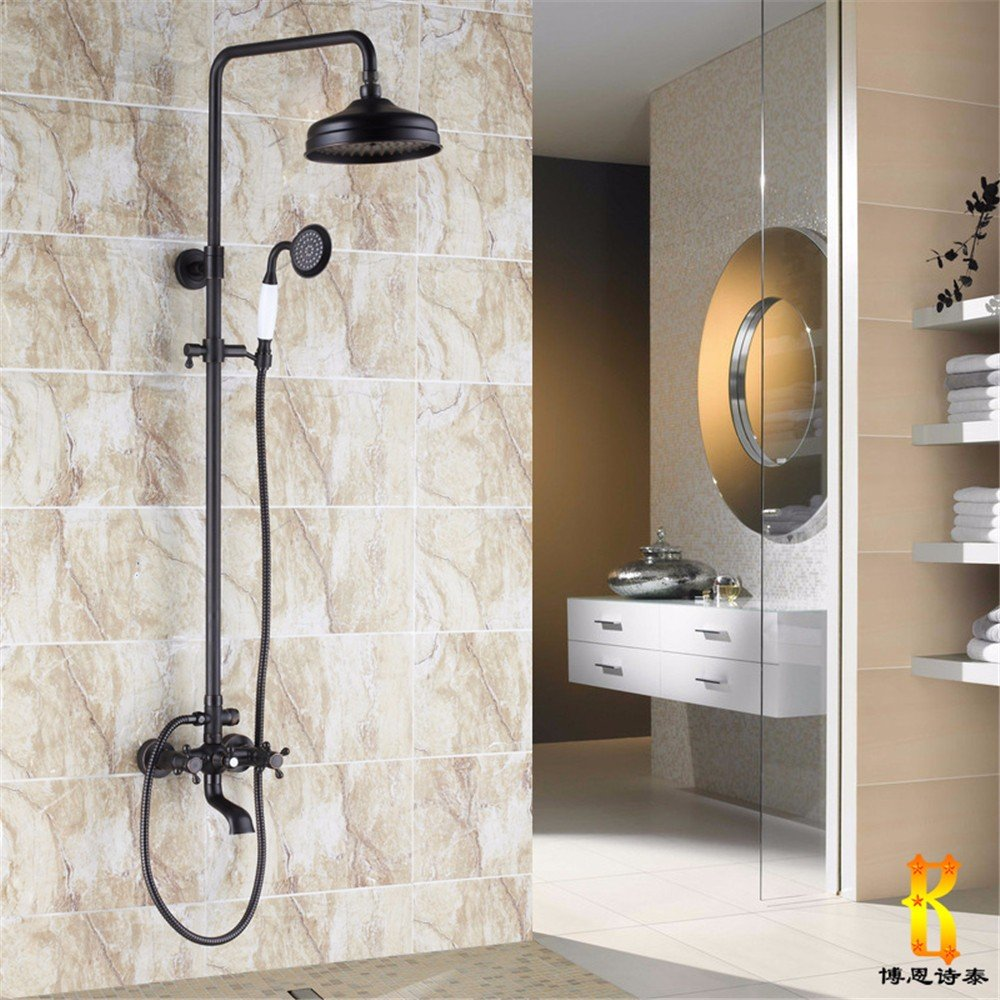 B The shower taps is made of black bronze, antique shower, all copper and European shower taps. It can be redated with lifting belt,D