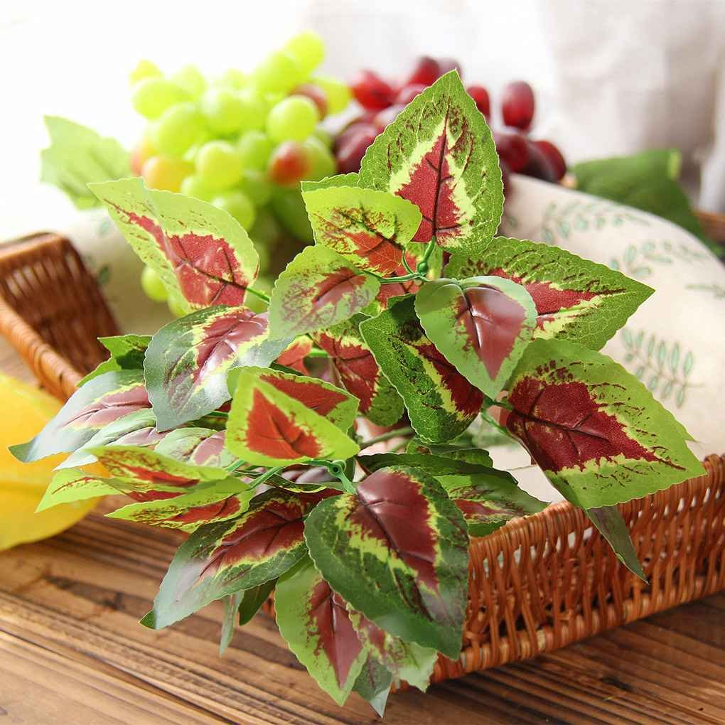Omkuwl Plastic Greenery Artificial Leaf Bunch Floral Plant Bonsai for Home Party Decoration #1